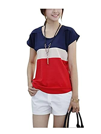 Women's Loose Casual Stripe Color Collision T-Shirt Tops Blouse Red S