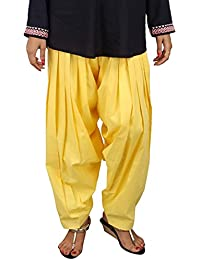 Stylezee Ladies Designer Pure Cotton Solid Plain Patiala Salwar (Yellow)
