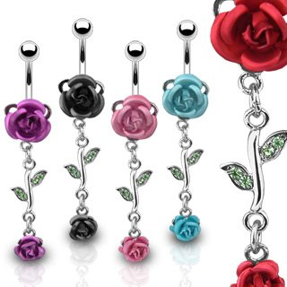 SBJ-0001 Stainless Steel Navel Ring w/ Metal Rose & Rose Dangle; Comes With Free Gift Box (Red)