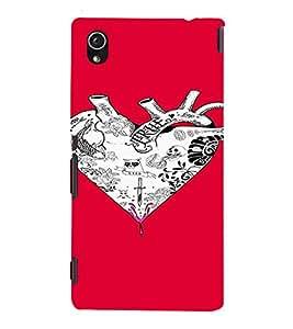 PrintVisa Heart Tattoo Art Design 3D Hard Polycarbonate Designer Back Case Cover for Sony Xperia M4 Aqua