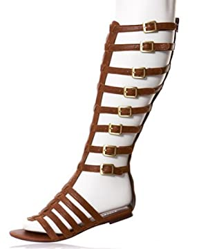 bebe.com : Tatiana Leather Knee-High Gladiator Sandals from bebe.com