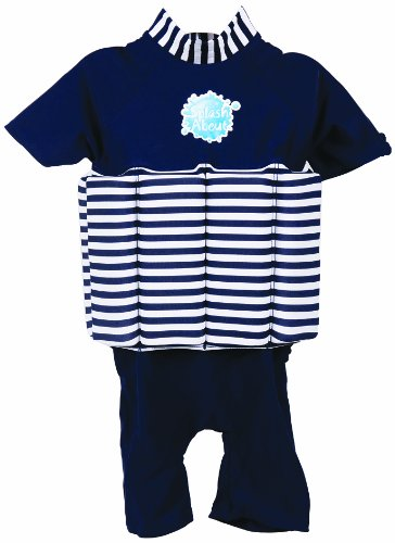 Splash About Sun Protection 50+ Floatsuit With Adjustable Buoyancy: Navy & White Stripe With A Navy Blue Base, 4 To 6 Years front-951208