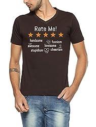 PepperClub Printed Men's V-Neck Half Sleeve T-shirt - Rate Me - Brown-vneck-hs-rate-brown-s