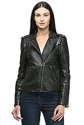 Ladies Detachable sleeve Leather Jacket.