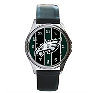 Time Walker Boys Easy to Read NFL Philadelphia Eagles Crocodile Faux Leather Black Analog Watches