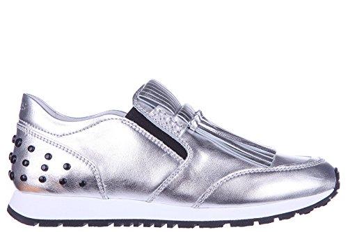 tods-slip-on-femme-en-cuir-sneakers-yo-frangia-nodi-argent-eu-385-xxw0yo0p250sv0b200