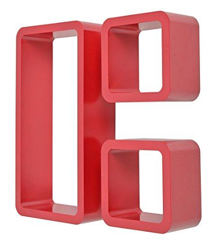 ts-ideen Set 3 mensole da parete stile retró anni '70 colore Rosso Ciliegia