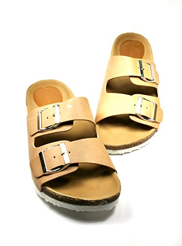 Women's Stud Soft Foam 2- Strap Flat Sandal with Soft Faux Suede Footbed