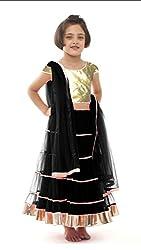 Awesome Fab Black Colour Soft Net Semi-stitched Laced Lehenga Choli