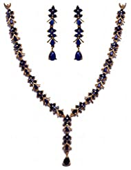 Alluring Blue Sapphire Stone Studded Necklace Set In Silver Alloyed Metal