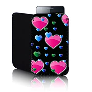 Biz-E-Bee Exclusive 'HEARTS' Black SONY XPERIA U (S) Shock Resistant Neoprene Mobile Phone Case, Cover, Pouch