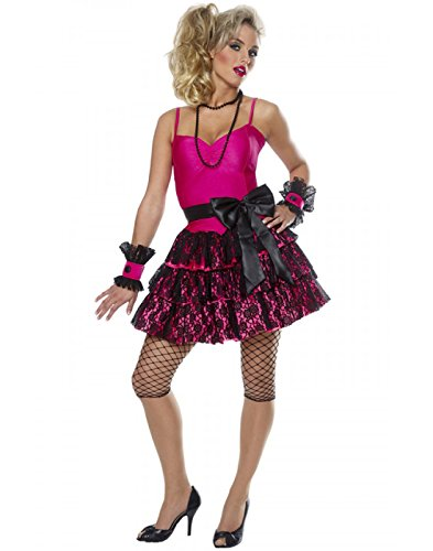 80s Party Girl Adult Madonna Style Pink Costume