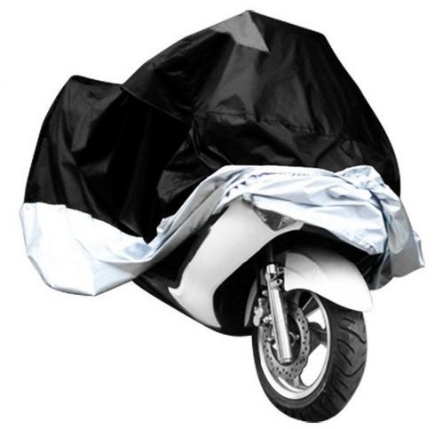 Universal Waterproof Dust Sun proof Indoor Outdoor Motorcycle Motorbike Cover for Harley Davison, Honda, Suzuki, Yamaha, Kawazaki Etc, Package Bag Include (Black/Silver, XXL) (Honda 300ex Tires compare prices)