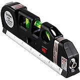 Qooltek Multipurpose Laser Level Horizon Horizontal Vertical Line 8ft+ Measure Tape Ruler Adjusted Standard and Metric Rulers