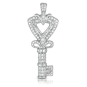 14k 1.46 Dwt Diamond White Gold Key Charm - JewelryWeb