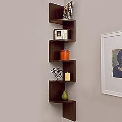Brown Wooden Zigzag Corner Wall Mount Shelf Unit