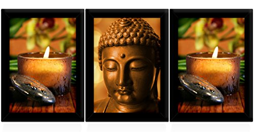 Tied Ribbons Buddha Framed Paintings Set Of 3 (13.6 Inch X 10.2 Inch)