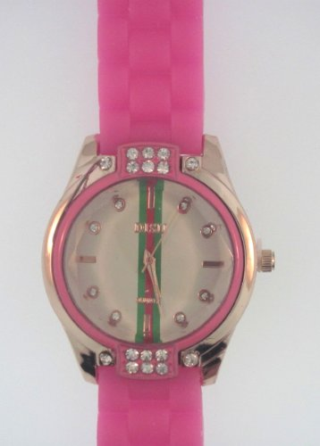 Hot Pink Silicone Rubber Gel Watch Link Look Ceramic Style. Face With Crystals On Top And Bottom. Red, Green, Red Stripe Down Center Of Face.