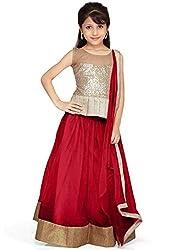 new arrival designer maroon net partywear kids lehenga choli (28 inches(9-12 year))