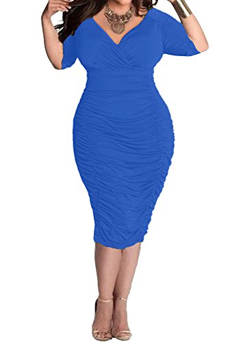 POSESHE Womens Plus Size Deep V Neck Wrap Ruched Waisted Bodycon Dress (L, Blue)