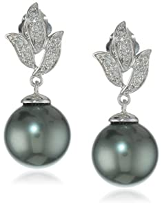 10k White Gold Black Tahitian Cultured Pearl with Diamond Accent Earrings (1/10 cttw, H-I Clarity, I2-I3 Clarity)