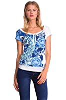 Desigual Cherain - T-shirt - Empire - Imprimé - Col rond - Manches courtes - Femme