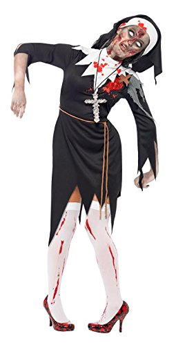 Smiffy's Women's Zombie Bloody Sister Mary Costume Dress with Latex Wound Rope Belt and Headpiece, Black/White, Large