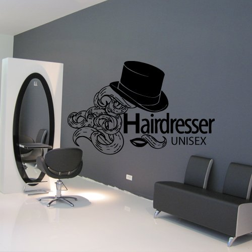 Wall Decal Decor Decals Art Hair Salon Beauty Hairdresser Unisex Lips Hat Curls Stylist Care Hairstyle Girl (M950) front-930808