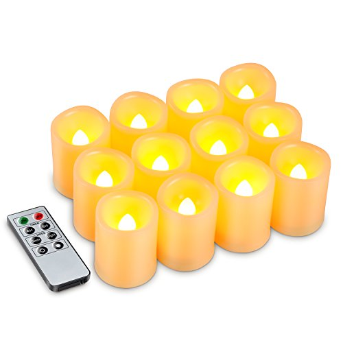 Kohree Flameless Battery Operated LED Pillar Candles Unscented Ivory Votive Remote Candles with Remote Control & Timer, Amber Yellow Flame(12 Set) (Remote Control Votive Candles compare prices)