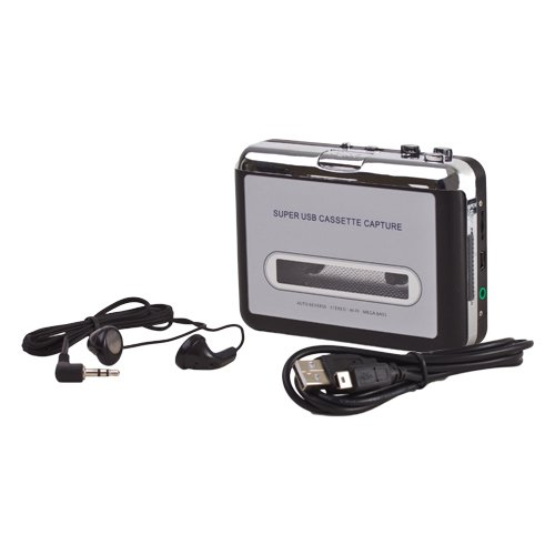 Flexzion USB Cassette To MP3 Converter Portable Super Tape To PC Player Digital File Audio Capture to Playback on iPod or Burn to CD with USB 2.0 Cable Headphones and Software (Video To Mp3 compare prices)