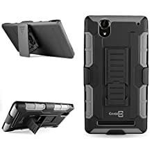 buy Coveron® For Sony Xperia T2 Ultra Holster Case [Trekker Series] Hybrid Belt Clip Holster Protective Armor Phone Cover With Kickstand - Gray & Black