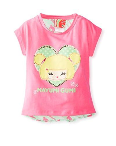 Mayumi Gumi Girl's Chiffon Back Tee  [Carmine Rose]