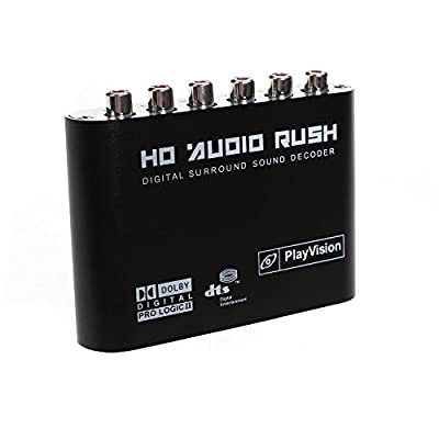 Premium 5.1 Audio Rush Digital Sound Decoder Converter - Optical SPDIF/ Coaxial Dolby AC3 DTS to 5.1CH Analog Audio (6RCA Output)