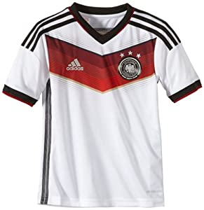 adidas Kinder Kurzärmliges Fußballtrikot Dfb Home Jersey, White/Black/Victory Red/Matte Silver, 176, G75073