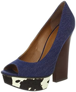 Nine West Women's Hairy Open-Toe Pump,Blue Denim,8 M US