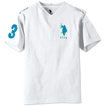 U.S. Polo Association Boys 8-20 V-Neck Pony Tee (White/Blue, 18)
