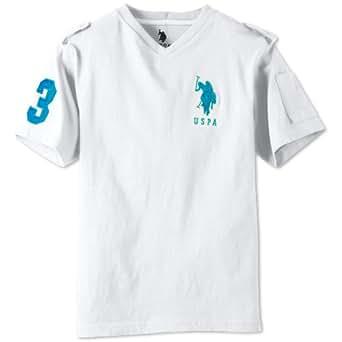 U.S. Polo Association Big Boys' V-Neck Pony Tee (White/Blue, 18)