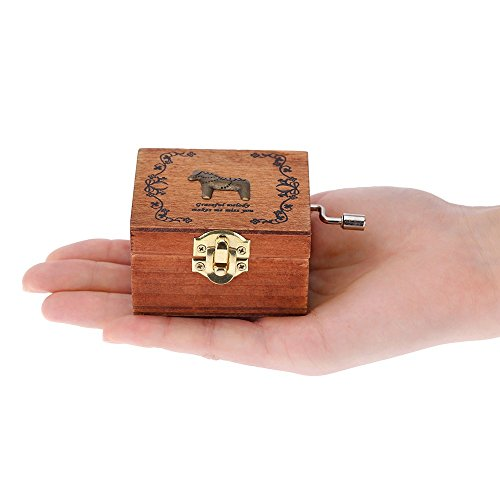 Exquisite Hand Crank Musical Box Retro Vintage Wooden Music Box 4 Different Patterns for Option Beautiful Decorative Patterns 5