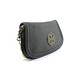 Tory Burch Womens Black Amanda Logo Leather Clutch BAG