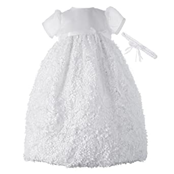 Lauren Madison baby girl Christening Baptism Newborn Floral Design Long Gown, White, 0-3 Months