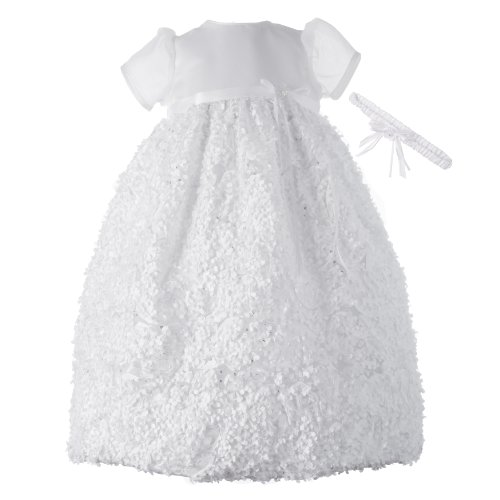Lauren Madison baby girl Christening Baptism Newborn Floral Design Long Gown, White, 0-3 Months