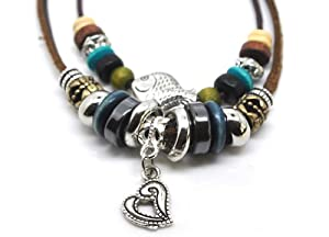 Beaded Zen Two Strand Leather Necklace with Metallic Heart Charm, Silver Color Metal Fish Bead, Colorful Wooden Beads, Chrome and Black Chrome Color Spacers, Antique Silver and Bronze Color Metal Accents on Dark Brown Leather and Hemp. Adjustable for Men, Women and Teens. Ships Same Day! (Foil Gift Box Included)
