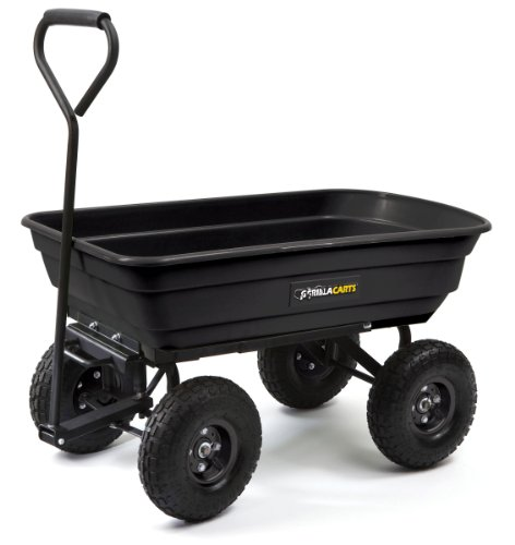 Gorilla Carts GOR200B Poly Garden Dump Cart with Steel Frame and 10-Inch Pneumatic Tires, 600-Pound Capacity, 36-Inch by 20-Inch Bed, Black Finish photo