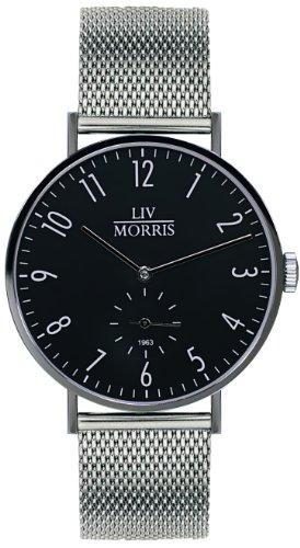 LIV MORRIS 1963 Modell TRITON MESH, im Bauhaus-Stil gehaltene Herrenuhr, Ø 41mm, feine Automatikuhr, massiv Edelstahl, Saphirglas, mechanisches SeaGull-Automatik-Uhrwerk