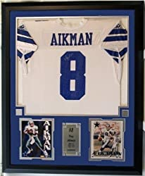 "Troy Aikman Autographed Dallas Cowboys Home Jersey Including Two 8"" x 10"" Photograph and Jersey in a 36"" x 44"" Deluxe Frame Shadow Box"
