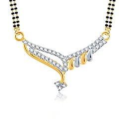 Meenaz Gorgeous Gold And Rhodium Plated Cz Mangalsutra Pendant For Women msp706