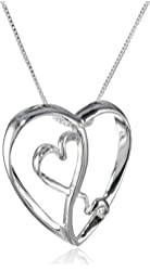 Sterling Silver Two Open Hearts Inside Larger Heart Pendant Necklace, 18""
