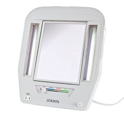 Best Cheap Deal for Jerdon JGL7W Euro Lighted Mirror with 5x Magnification, 4-Light Settings, White Finish from Jerdon - Free 2 Day Shipping Available
