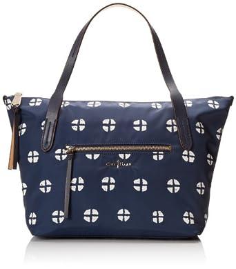 Cole Haan Parker Nylon SM Zip Top Shopper Shoulder Bag,Quarter Print Navy,One Size