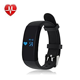 V.one 2016 Smart Sport Bracelet, IP67 Waterproof Fitness Tracker Sport Pedometer Heart Rate / Sleep / Calorie Monitor Bluetooth 4.0 for Android IOS iPhone (Sport Black)